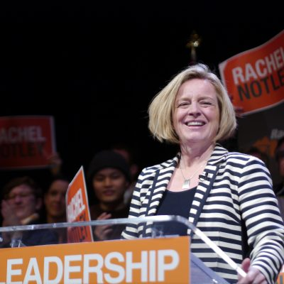 Energized Alberta New Democrats see Orange as they shake the chandeliers in Edmonton theatre