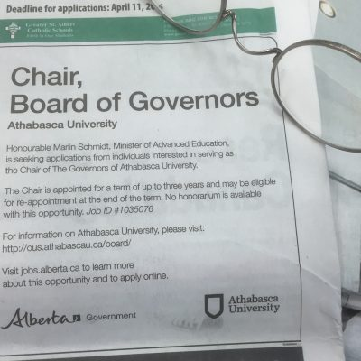 Alberta Advanced Education Ministry now maintaining close watch on Athabasca University