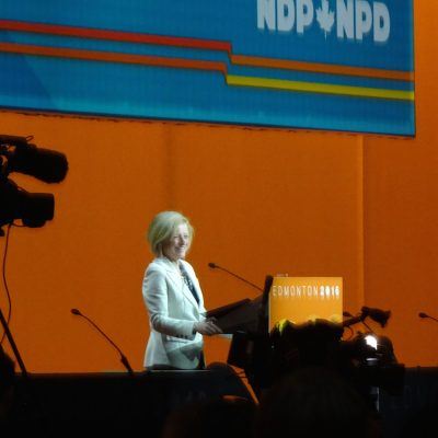 On stage in Edmonton: The tough Rachel Notley who frightens conservatives, and may scare certain New Democrats too