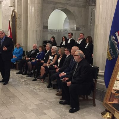Portrait unveiling stands in for the fond official farewell former premier Dave Hancock never had from his PCs