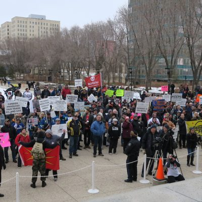 Despite NDP stamp of approval, pipeline rally looked and sounded like UCP event