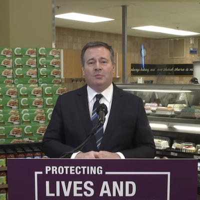 Jason Kenney chooses the cake department to unexpectedly announce one-time pandemic 'bonus' for front-line workers