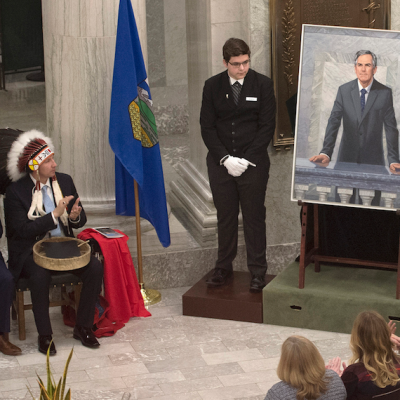 Unveiling of portrait of Jim Prentice, premier of Alberta, accompanied by warm words and a non-partisan moment