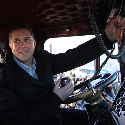 Hey, Andrew Scheer! Do you know whose truck that is you're riding in?